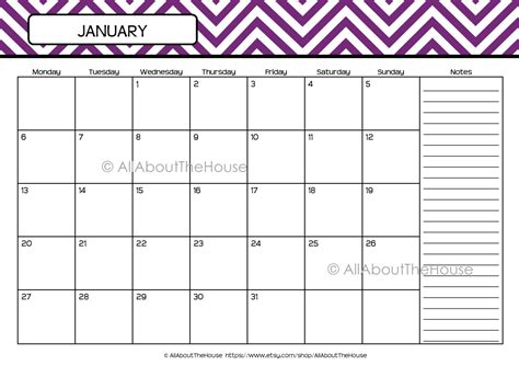 printable quarterly calendar 2016 8 best images of chevron blank printable calendar 2015