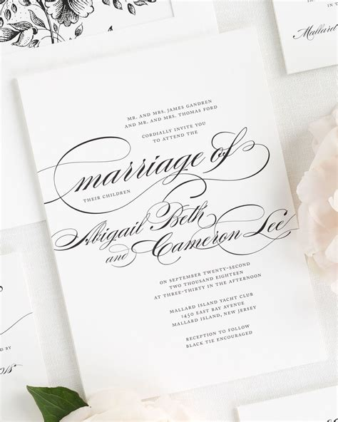 Beautiful Wedding Invitations by Beautiful Wedding Invitation In Black And White With