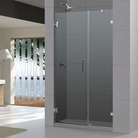 Hinged Glass Shower Doors Dreamline Unidoor 48 Quot Frameless Hinged Shower Door Clear 3 8 Quot Glass Door Brushed Nickel