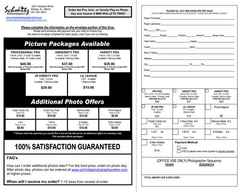 youth sports photography templates photography order form template how to make an order form