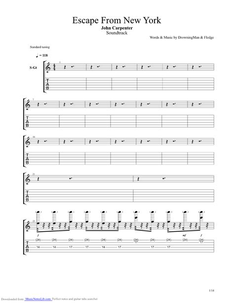 Theme Music Escape From New York   escape from new york theme guitar pro tab by john