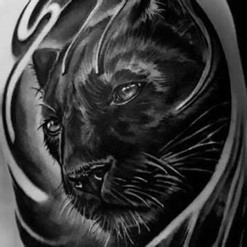 cool realistic black panther sleeve tattoo idea