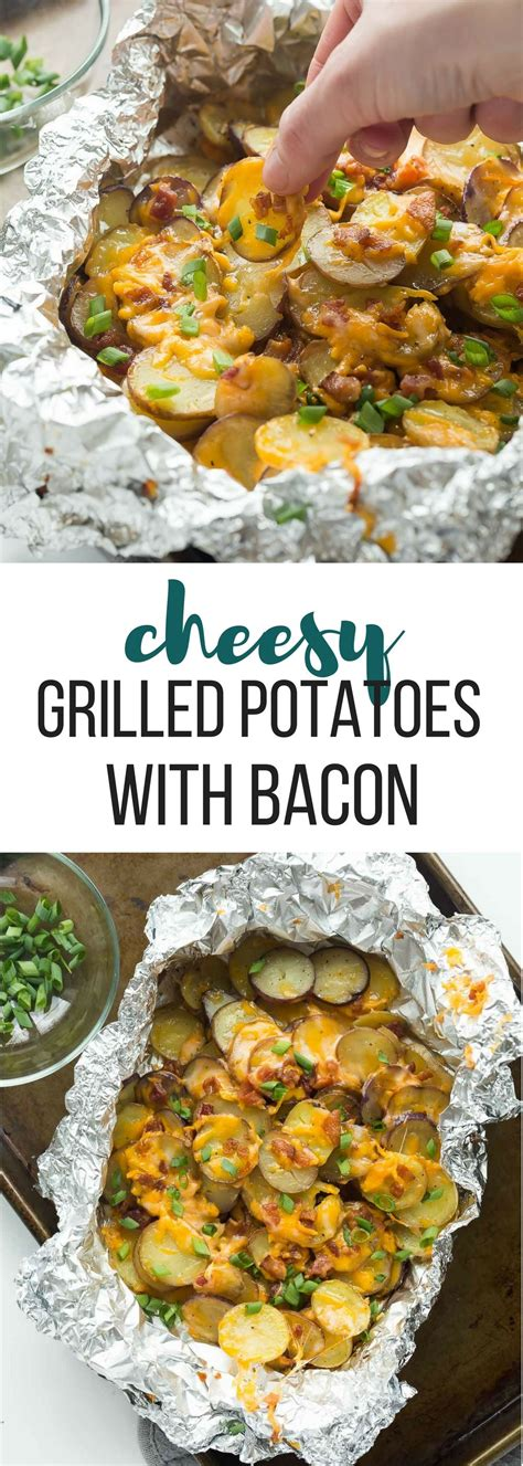 these cheesy grilled potatoes with bacon are an easy foil pack side dish or appetizer for summer