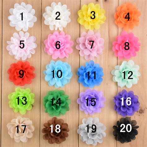 20pcs lot 20colors beautiful flower baby 20pcs lot chiffon flowers for headbands 2 quot fabric flowers