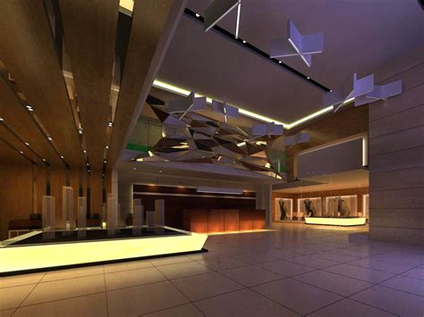Ceiling Max Commercial Space With Decorated Ceiling 3d Model Max