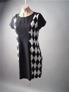 44194 Black Retro Pattern S M L Jumpsuit black white mod 60s geometric check pattern shift
