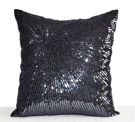Silver Throw Pillows Decorative Throw Pillow Cover Silver Grey Sequin Pillow