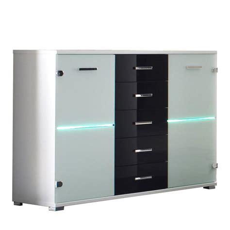 kommode sideboard schwarz sideboard cobra kommode glas wei 223 schwarz inkl led
