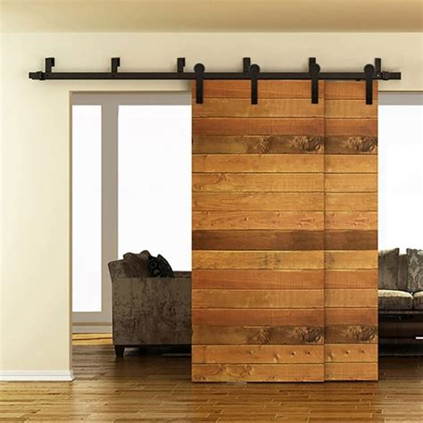 Bypass Barn Doors Winsoon 5 16ft Bypass Sliding Barn Door Hardware Rustic Black Track Kit New