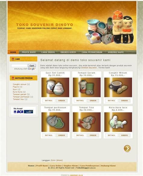 template toko online 3 kolom toko online dan landing page blogspot