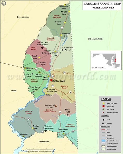 map maryland usa caroline county map maryland