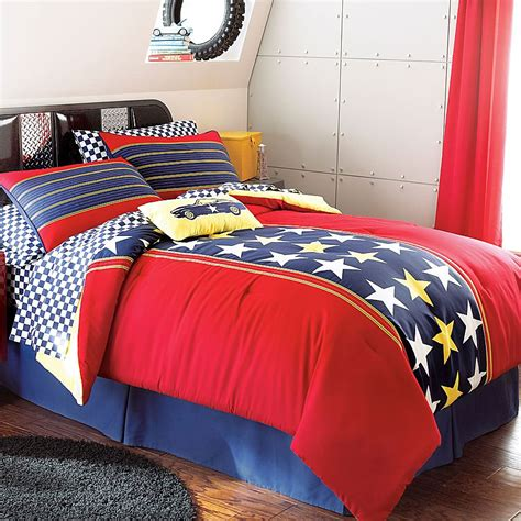 new 4pc racer stars twin bedding set red patriotic bed