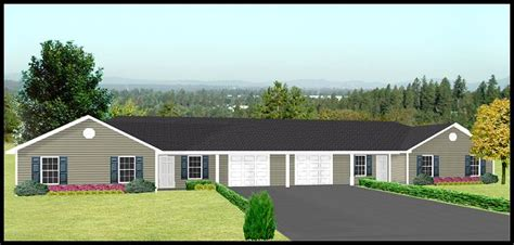 duplex house plans with garage in the middle j1031d g duplex plan with garage