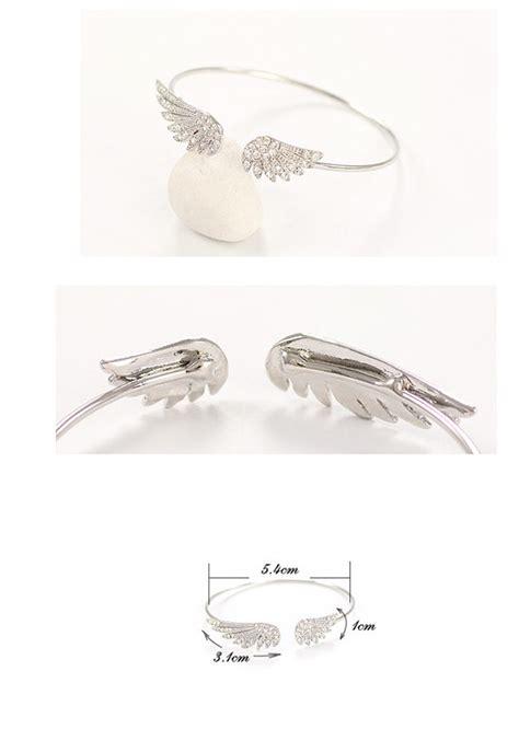 Cincin Korea Decorated Wing Shape Design 1 korean silver color decorated wings shape design alloy fashion bangles asujewelry