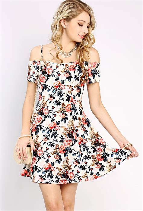 open shoulder floral mini dress shop best sellers at