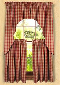 The Country Porch Curtains Wine Teadyed Buffalo Check Window Curtain Swags