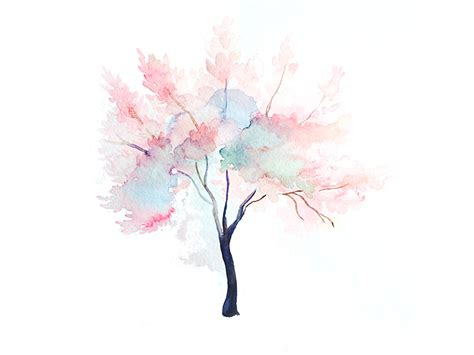 hanami watercolor tree no 2 by mintlodica dribbble