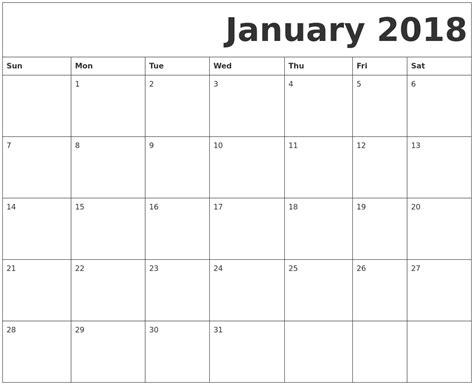 printable january 2018 calendar january 2018 calendar printable calendar template letter