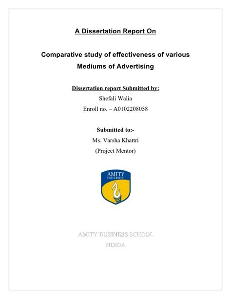 advertising dissertation comparative study of effectiveness of various mediums of