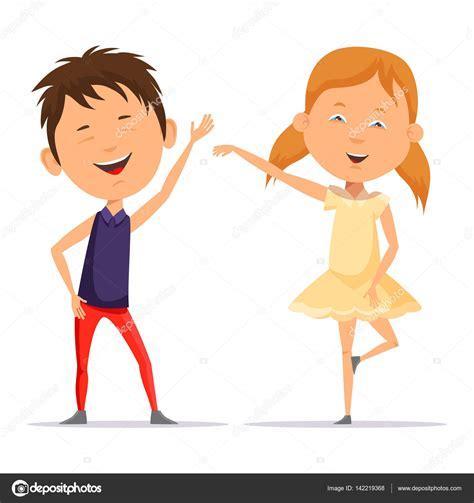 imagenes de niños jugando y bailando ni 241 o y ni 241 a ni 241 o bailando sonriendo vector de stock