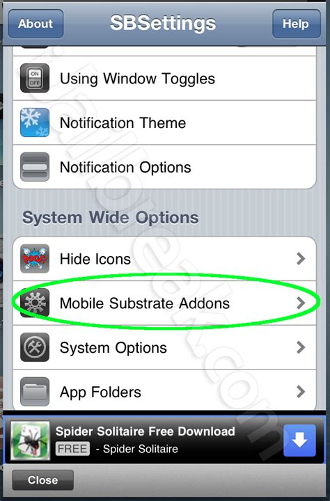 mobile substrate fix fix and remove broken glitch cydia tweaks using sbsettings