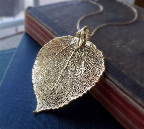 how to make real leaf jewelry gold leaf necklace large gold aspen leaf by otisbjewelrygifts