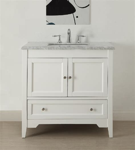 36 inch white shaker bathroom vanity with carrara marble