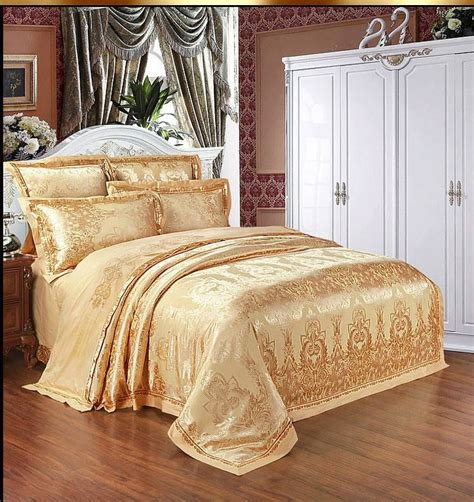 Gold Bedding Sets Home Textile Bedding Set Luxury 6pcs Gold Beige Blue Jacquard Satin Comforter Duvet Cover