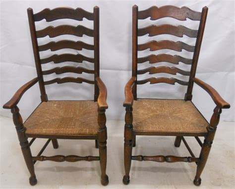 kitchen armchairs pair elm ladderback carver rush seat kitchen armchairs