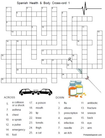 easy crossword puzzles in spanish free printable health worksheets free worksheets library