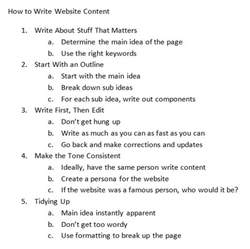 How To Write A Outline For An Essay how to write content for a website