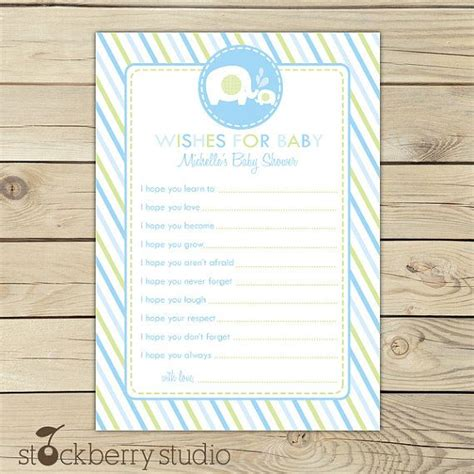 baby boy shower shower advice card 5 25x8 plaid blue elephant baby shower wishes for baby boy card green blue