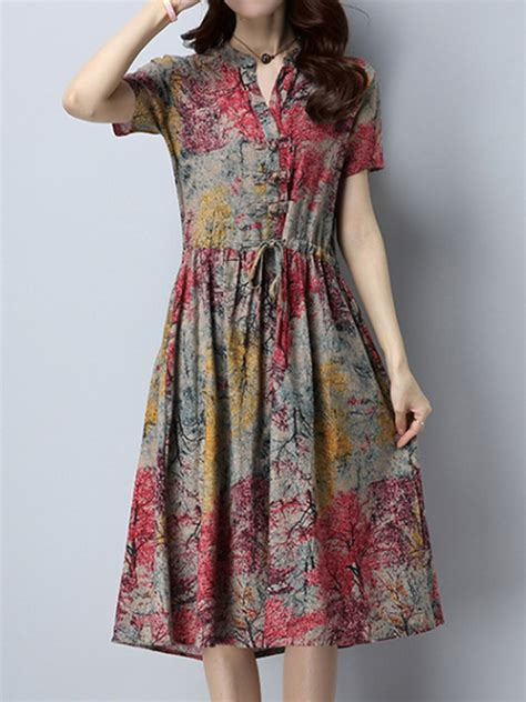 Sleeve Drawstring Dress vintage drawstring printed dresses sleeve