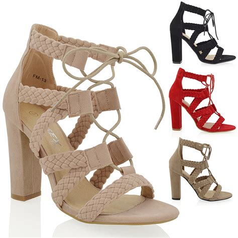 high heel lace up new womens caged ankle high heel lace up woven