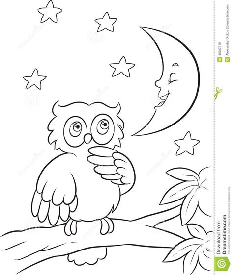 owl moon coloring page owl coloring page stock vector image of moon tree eyes