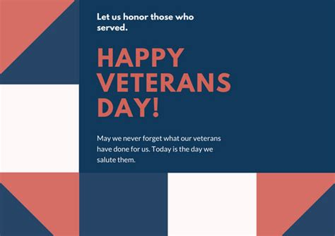 Veteran S Day Card Template by Blue Shapes Greeting Veterans Day Card Templates By