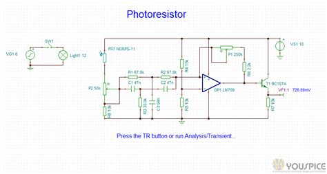 photoresistor projects switch circuit activated by a photoresistor youspice