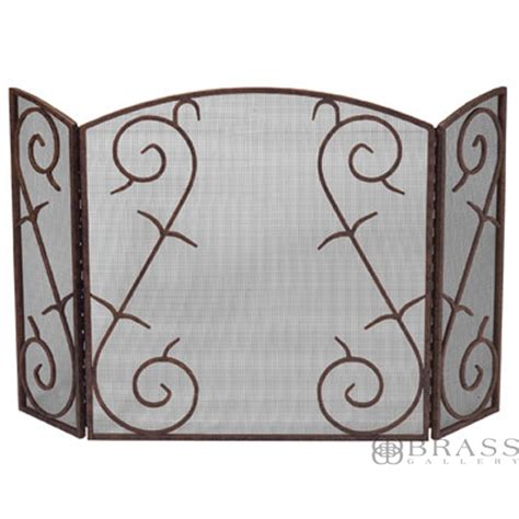 fireplace screen chocolate brown brass gallery