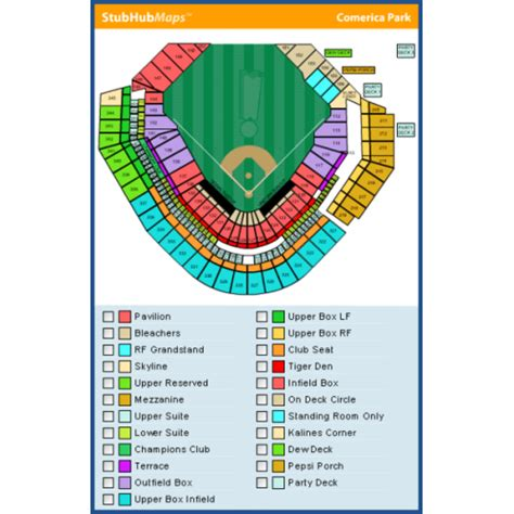seating chart oferica park comerica park map my