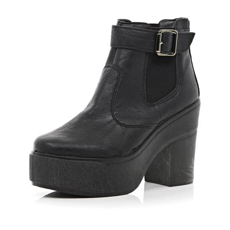 chunky ankle boots river island black chunky block heel ankle boots in black