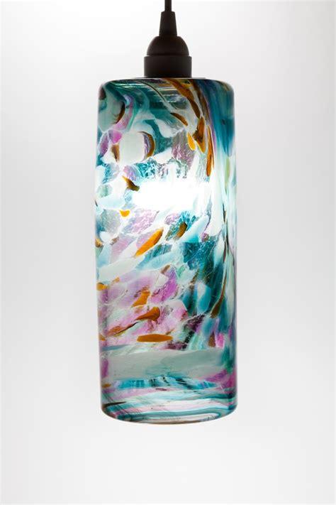Hand Blown Glass Hanging Light Pendant Fixture In Blue Blown Glass Pendant Light Fixtures