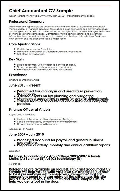 accounting cv template uk chief accountant cv sle myperfectcv
