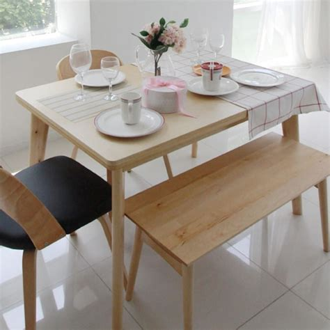 korean pure solid wood dining table turntable japanese