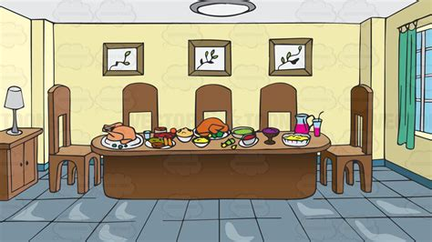 cartoon dining room a dining room table full of food background vector clip