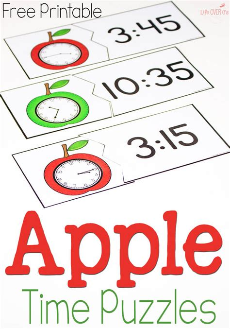 printable clock puzzle free printable time puzzles apple theme