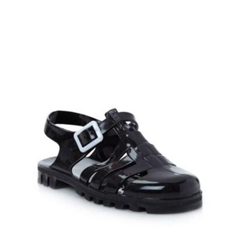 black flat jelly shoes juju black flat jelly sandals at debenhams
