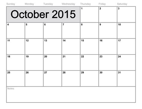 blank calendar templates 2015 october 2015 calendar printable template 8 templates