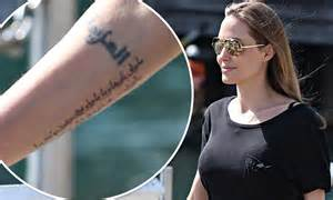 angelina jolie tattoo right forearm angelina jolie new tattoo actress debuts new inking on