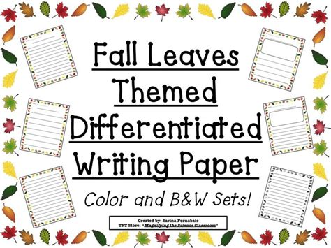 fall themed writing paper fall leaves border themed differentiated writing paper