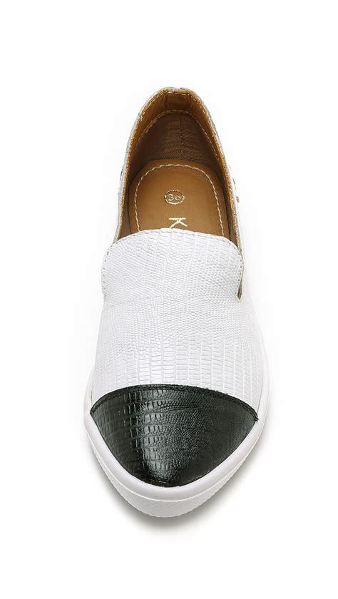 pointy sneakers lyst kaanas senegal pointy toe slip on sneakers white